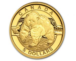 1/10 oz 2014 O Canada Series - Grizzly Bear Gold Coin