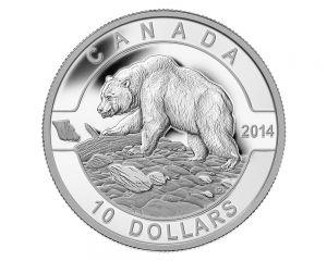 1/2 oz 2014 O Canada Series - Grizzly Bear Silver Coin